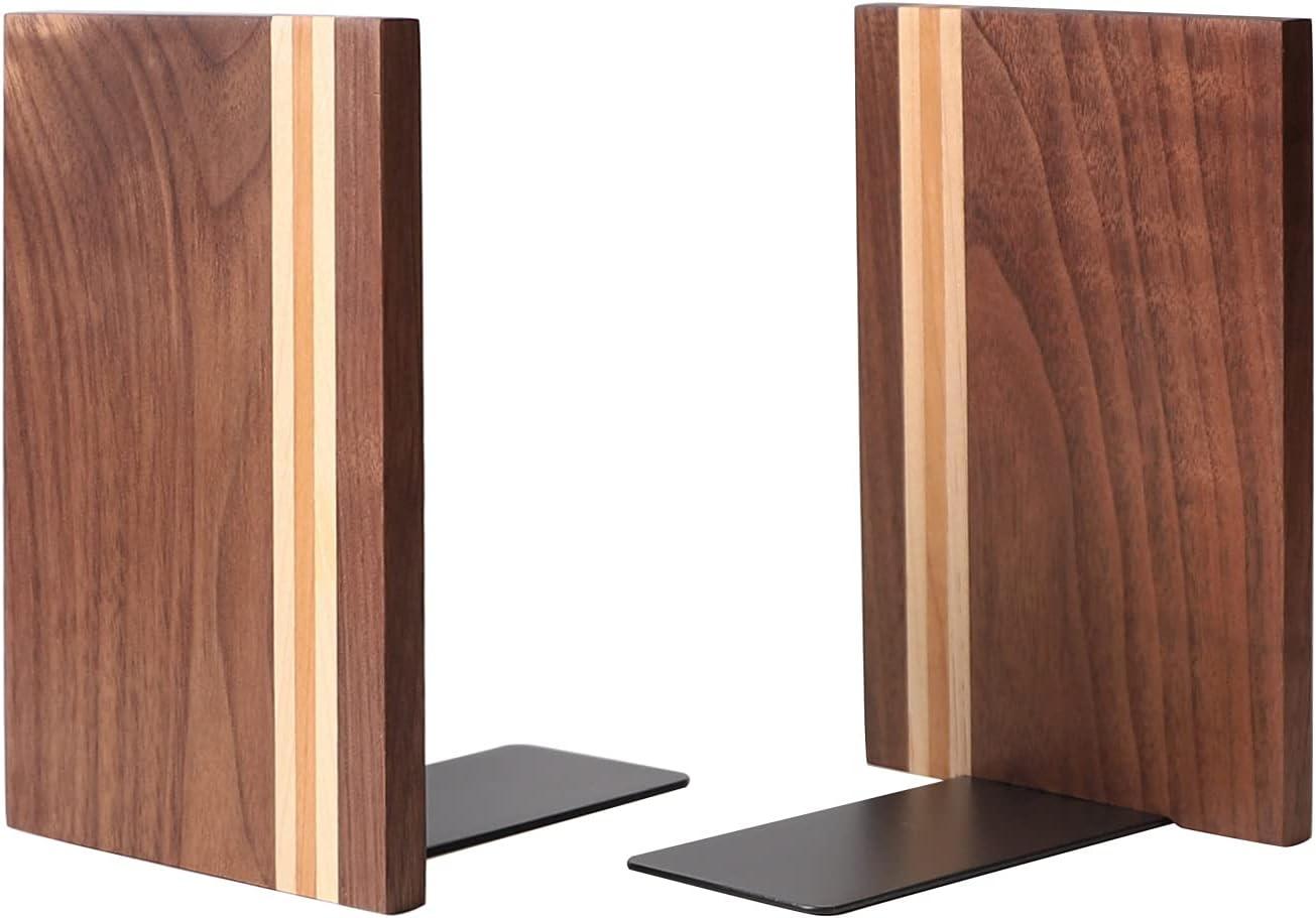 Muso Wood Artist Bookends, Decorative Bookshelf Book Ends Heavy Duty Bookends Desktop Organize Books Wooden Book Ends for Home Office Kitchen 6