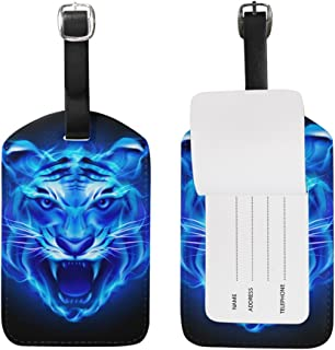 Head Of Fire Tiger Luggage Tags,Bag Tags Travel ID Labels For Baggage Suitcases