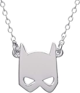 """DC Comics Offically Licensed Jewelry for Women Batman Jewelry for Women, Sterling Silver Batman Mask Pendant, 18"""" Chain"""
