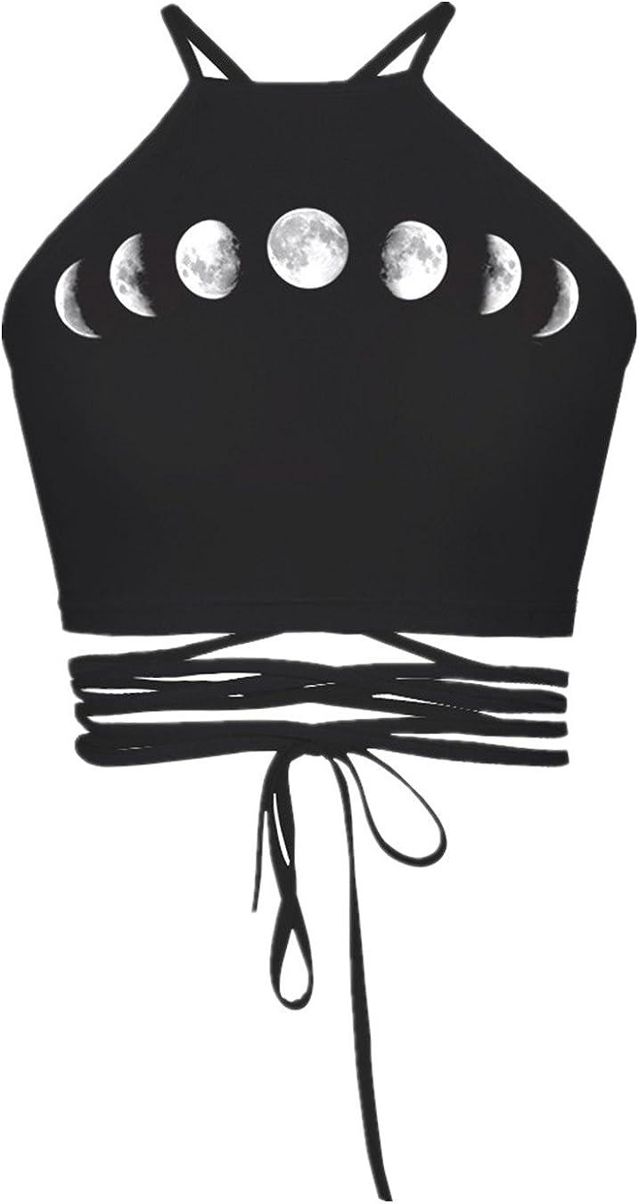 ENLACHIC Purchase Women's Halter Cross Hollow Boho Bargain sale Camis Print Bandage Cr