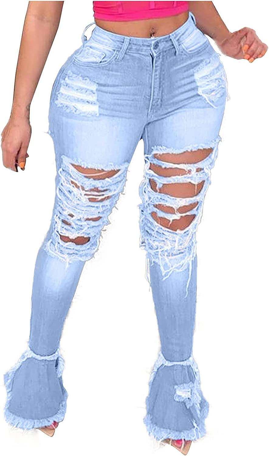 Amazingdays Bell Bottom Jeans for Women High Waist Ripped Jeans Womens Skinny Jeans Casual Trendy Denim Pants