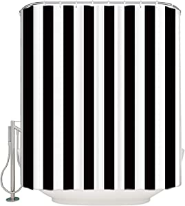 Vandarllin Extra Long Shower Curtain Fabric Shower Curtains Black and White Shower Curtain Striped 72x84 Inch