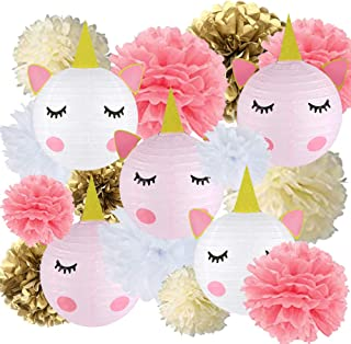 18 pcs Unicorn Birthday Party Decorations - 12pcs Tissue Paper Pom Poms,6pcs Unicorn Paper Lanterns with Glitter Horn Ears Eyelashes for Unicorn Baby Shower Birthday Party Supplies(DIY)