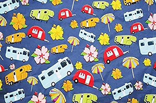 "Happy Camper - Retro RV Fun Camping VInyl Flannel Back Tablecloth - 96"" x 54"""