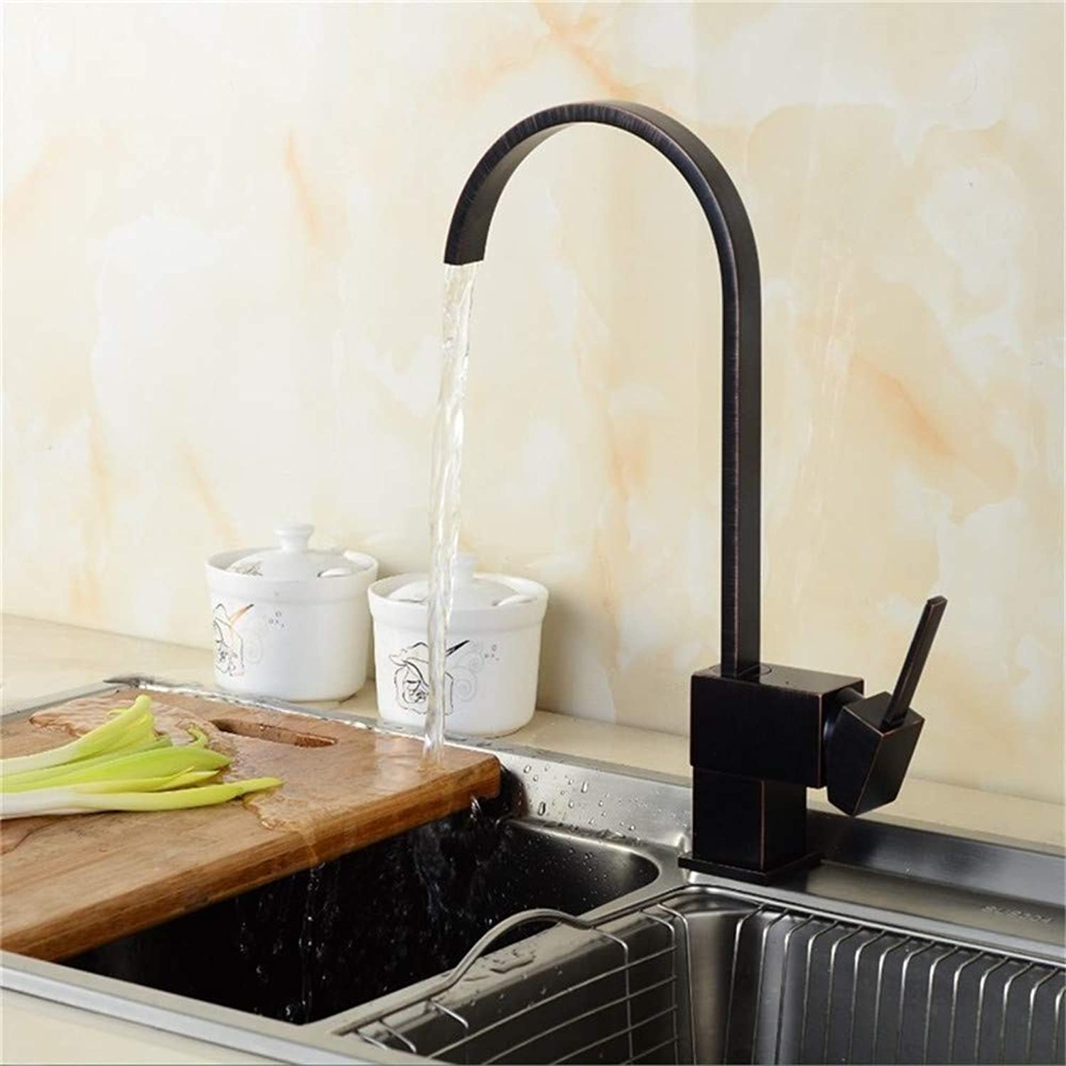 YAWEDA All Copper Kitchen Faucet Wash Vegetable Basin Faucet Faucet Black Faucet Faucet Hot and Cold Water Mixer Faucet