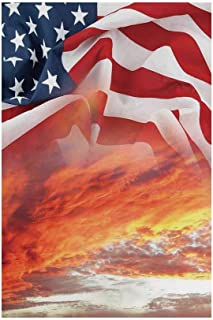 Polyester Garden Flag Outdoor Flag House Flag Banner,American Flag Decor,Dramatic Skyline on Clouds and Flag Freedom and Independence Memorial Print,Multi,for Wedding Anniversary Home Outdoor Garden D