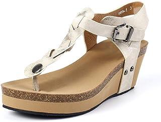 bde40b5f212 Sandali Donna Zeppa Espadrillas Estate Fibbia Peep Toe Eleganti Romano  Boemia Ciabatte T-Strap Scarpe