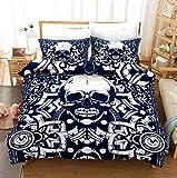 Totenkopf 3D Blau Bettbezug, Mit Reißverschluss, Polyester Bettwäsche, Zwei Kissenbezüge, Stilvoll Und Individuell 220X260Cm