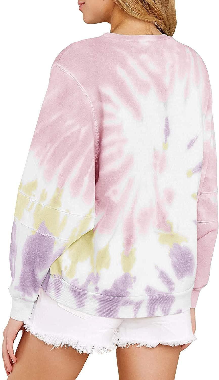 Womens Tie Dye Sweatshirts Plus Size Crewneck Long Sleeve Casual Pullover Tops