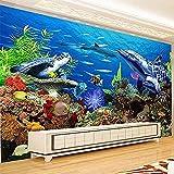 XHXI Tamaño no tejido s decoración de la habitación de los niños dibujos animados mundo submarino acuario TV f Pared Pintado Papel tapiz Decoración dormitorio Fotomural sala sofá mural-430cm×300cm