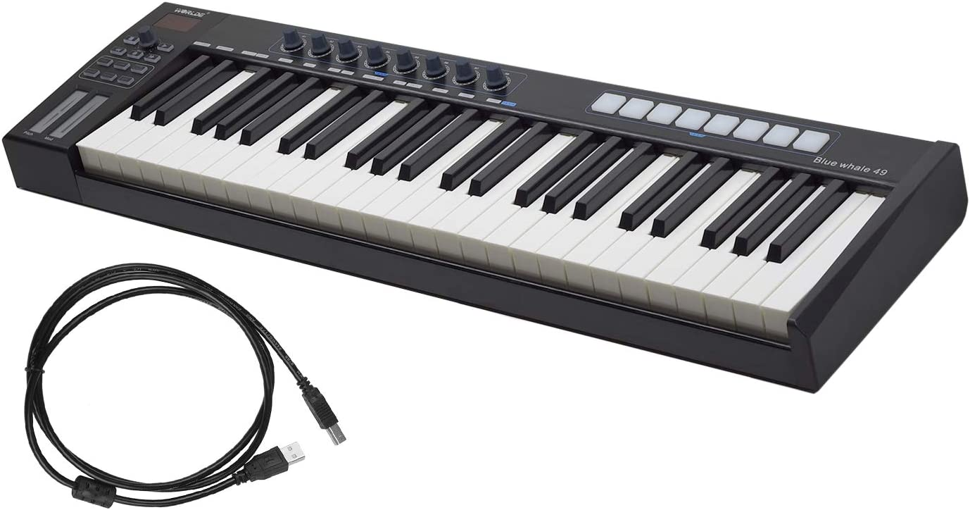 Amazon.co.jp: Muslady WORLDE Blue whale 49 USB MIDI Controller Keyboard 49  Semi-Weight Keys 8 RGB Backlight Trigger Pad LED Display with USB Cable:  Musical Instruments