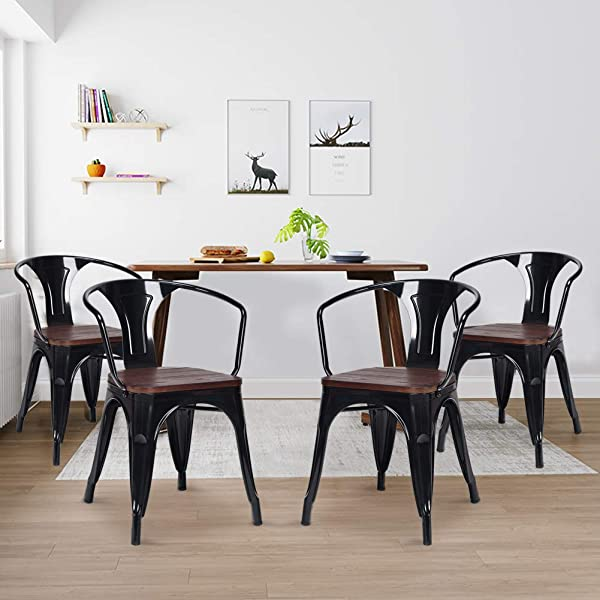 Dining Chairs WaterJoy Set Of 4 Wood Metal Tolix Vintage Retro Bistro Stackable Dining Cafe Side Chair Industrial Style Steel Bar Kitchen Furniture Armrest Chairs Black
