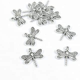 Charms for Earrings Charms for Bracelets 5PCs Dragonfly Silver Toned Alloy Charms