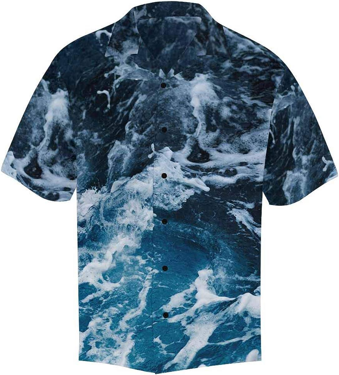 InterestPrint Men's Casual Button Down Short Sleeve Blue Ocean Wave Hawaiian Shirt (S-5XL)