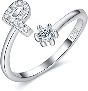 925 Sterling Silver Stackable Initial Letter Rings for Women A-Z Cubic Zirconia Capital Letter Alphabet Adjustable Ring,Je...