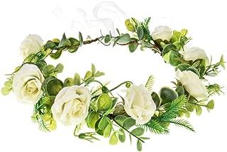June Bloomy Bridal Succelent Flower Crown Wedding Leave Headband Maternity Photo Prop (Rose-White)