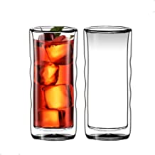 Sun's Tea(TM) 20oz Ultra Clear Strong Double Wall Insulated Thermo Wave Glass Tumbler Highball Glass for Beer/Cocktail/Lem...