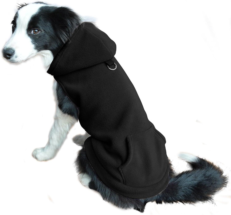 EXPAWLORER Fleece Dog Hoodies with Pocket, Cold Weather Spring Vest Sweatshirt with ORing, Black XS