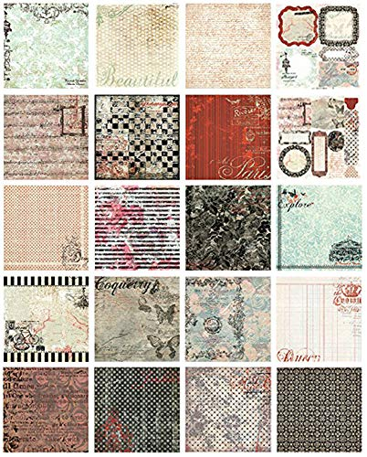 カラー デザインペーパー 手芸用紙 花柄 厚手 絵葉書、年賀状、お祝いカードなどの作りに 7×7inch 40枚入り (カラフル010)