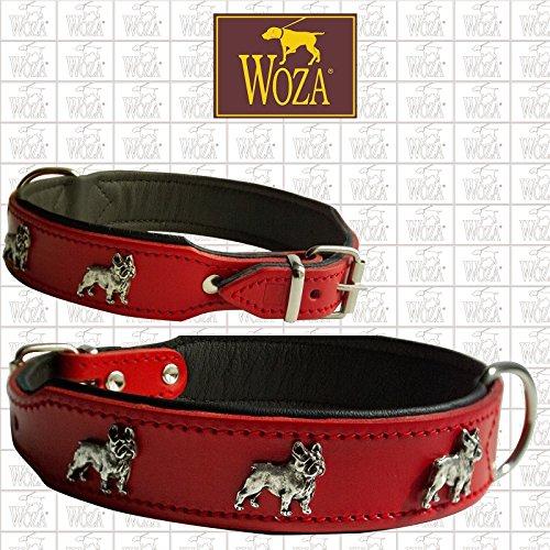 Woza Premium HUNDEHALSBAND FRANZÖSISCHE Bulldogge 3,3/47CM Vollleder ROT RINDNAPPA Leder SCHWARZ Collar