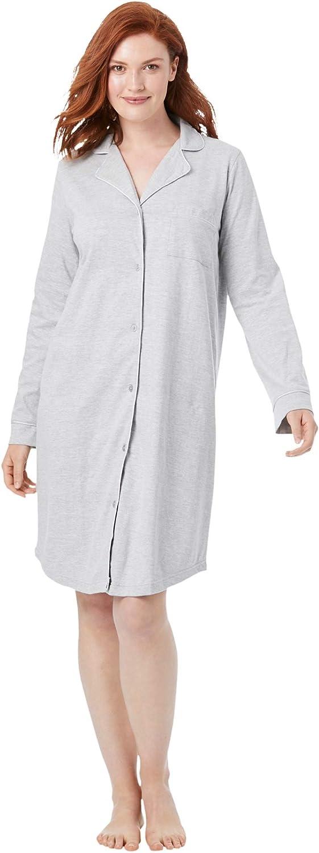 Dreams & Co. Women's Plus Size Knit Sleep Shirt - L, Black