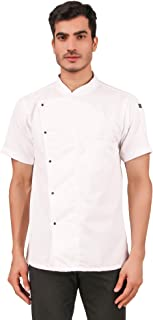 Kodenipr Club Mens Womens White Chef Coat,LightWeight,Half Sleeves,Snap Buttons,Poly/Cotton,Size (X-Large(42))