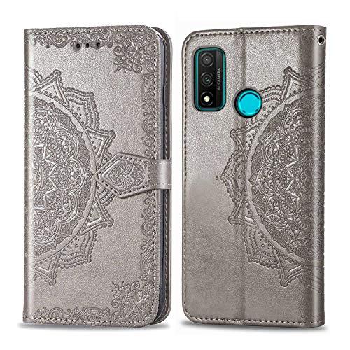 Bear Village Hülle für Huawei Nova Lite 3 Plus, PU Lederhülle Handyhülle für Huawei Nova Lite 3 Plus, Brieftasche Kratzfestes Magnet Handytasche mit Kartenfach, Grau