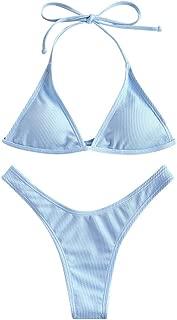 Women's Halterneck Ribbed High Leg Triangle Thong Bikini Set Two Piece Swimsuit