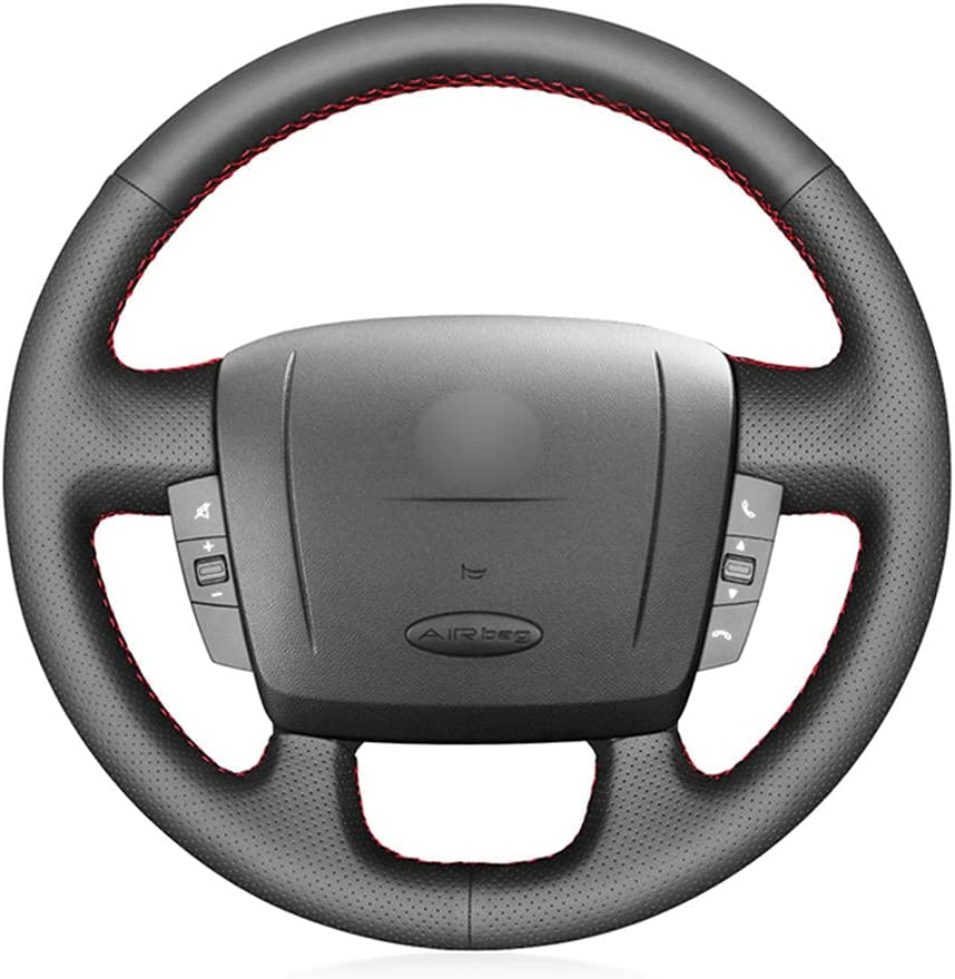 Mail order HSHKONG Hand-Stitched Black PU Leather Brea Wheel Cover Steering sold out