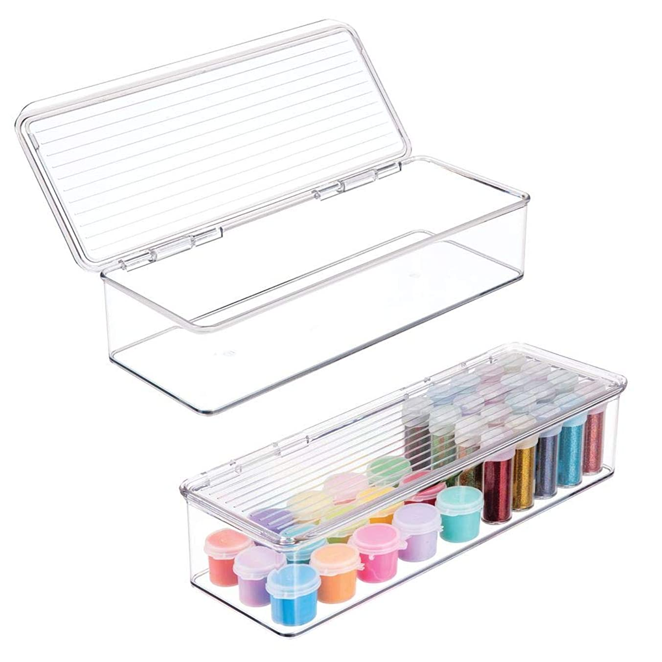 mDesign Wide Stackable Plastic Craft, Sewing, Crochet Storage Container Bin with Attached Lid - Compact Organizer and Holder for Thread, Beads, Ribbon, Glitter, Clay - Small, 3