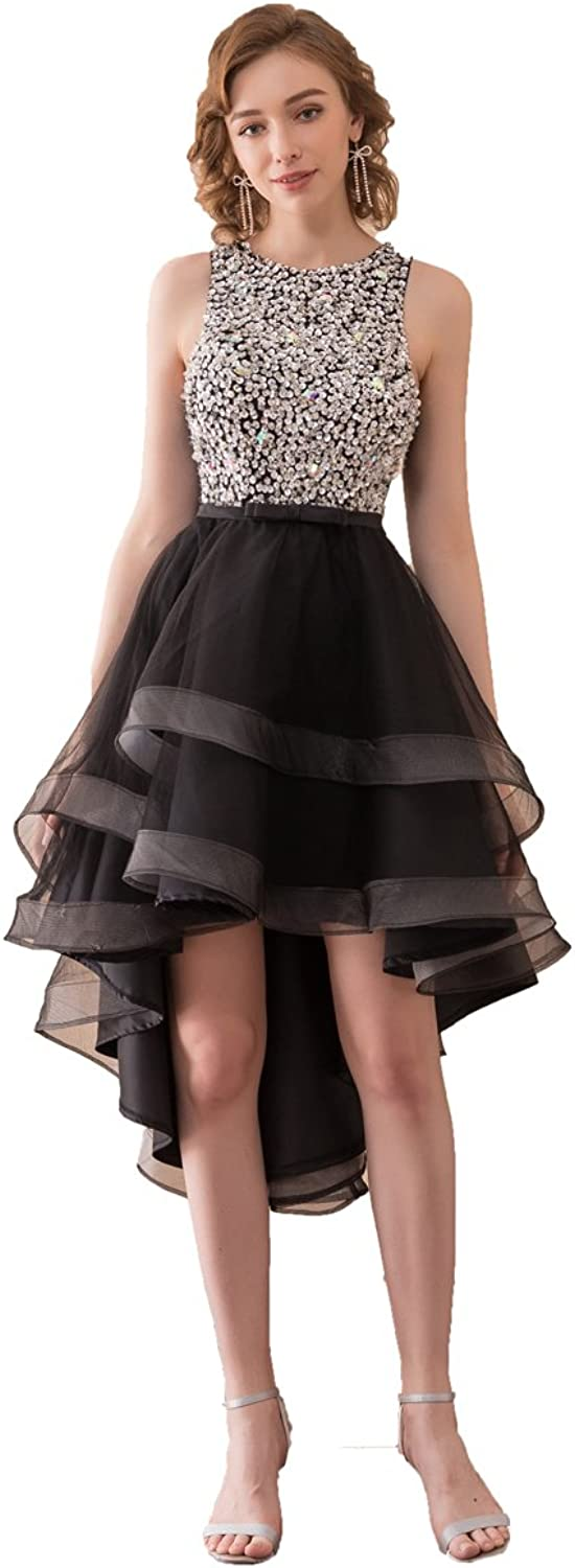 Graceprom Sparkly Beaded Crystal HiLo Prom Dress Black Party Dress