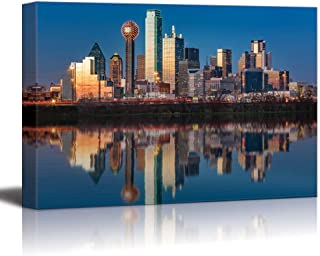 wall26 - USA City Skyline Canvas Wall Art - Dallas Skyline Reflected in Trinity River at Sunset, Texas - Gallery Wrap Modern Home Decor | Ready to Hang - 24x36