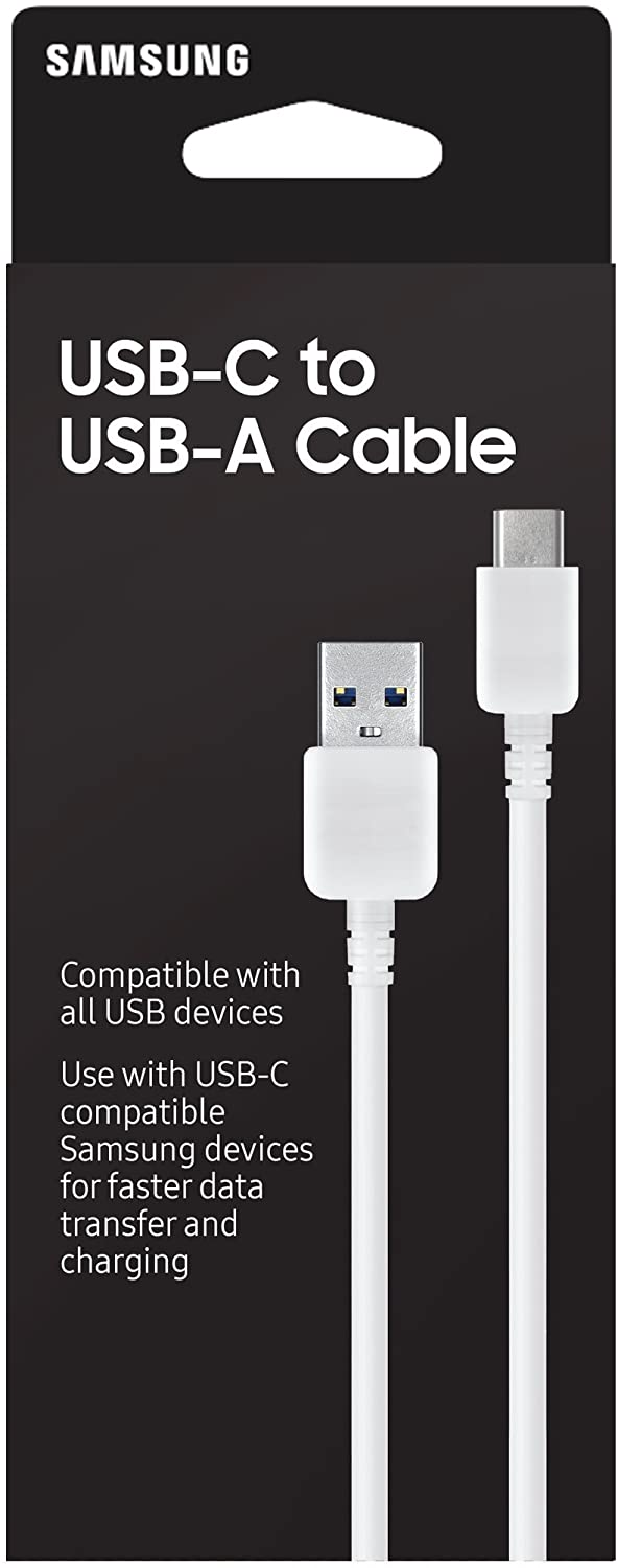 Samsung EP-DN930CWEGUS USB-C to USB-A Sync and Transfer Cable, 1 Meter, Retail Packaging, White