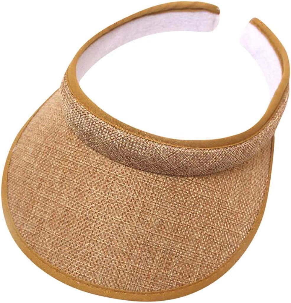 Women Straw Hat Sun Visor Hat Wide Brim Summer UV Protection Beach Cap Fold Able Dark Khaki