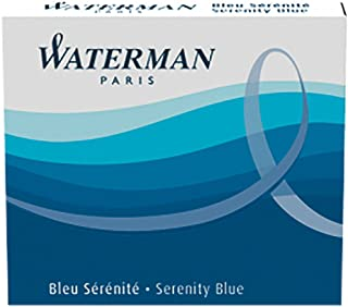 Waterman Fountain Pen Ink Cartridges, Short 'International', Serenity Blue, 6 Count