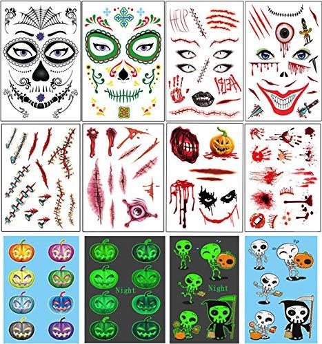 Vansoon 10 piezas pegatina tatuajes Halloween, cara