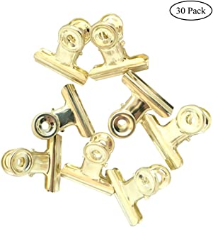 Small Bulldog Hinge Clips, Coideal 30 Pack 1 Inch Metal Binder Paper Clips File Money Clamps for Tags Bags, Pictures, Photos, Wire Gird Wall Decor, Office and Home Kitchen Usage (Light-Gold, 22mm)