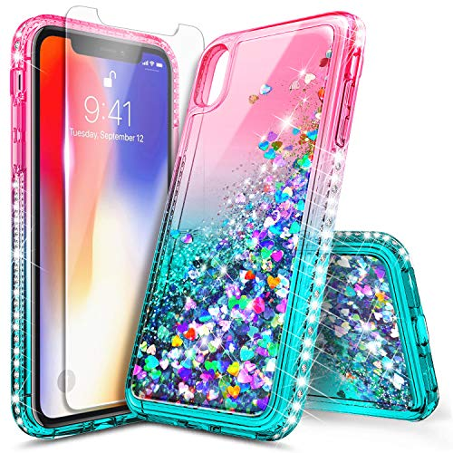 iPhone Xs Max Case with Tempered Glass Screen Protector for Girls Women, NageBee Glitter Bling Liquid Floating Quicksand Waterfall Sparkle Durable Cute Case for iPhone Xs MAX 6.5 inch -Pink/Aqua