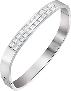 b6791b3e6b9ba2 ZIVOM® Baguette Crystal Openable 18K Silver Plated Surgical Stainless Steel  Cuff Kada Bracelet for Men