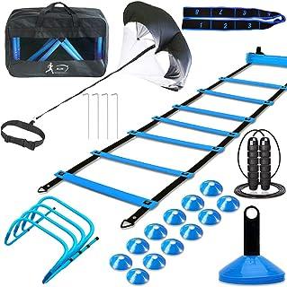 مجموعه آموزش سرعت چابکی ، شامل 1 چتر نجات ، 1 نردبان چابکی ، 4 استیل فولادی ، 4 مانع قابل تنظیم ، 12 مخروط دیسک | تجهیزات آموزش سرعت برای فوتبال بسکتبال بیس بال فوتبال