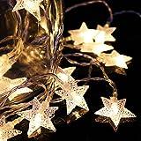 Betorcy クリスマスライト イルミネーションライト 電池式 クリスマスツリー led ライト 電飾 防水 デコレーションライト パーティー 屋外 結婚式 飾り 星 電球色