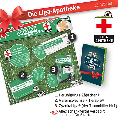 Geschenk-Set: Die Liga-Apotheke für Werder-Fans | 3X süße Schmerzmittel für Bremen Fans | Die besten Fanartikel der Liga, Besser als Trikot, Home Away, Saison 18/19 Jersey