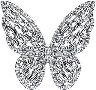 فراشة خواتم مكعب زركونيا قابل للتعديل خاتم فضي حجر الراين خاتم مجوهرات المفاصل للنساء والفتيات