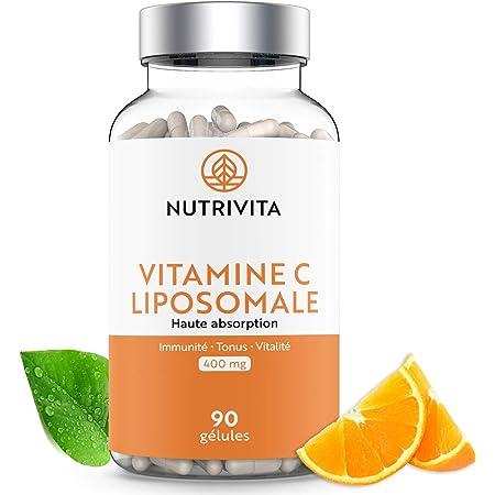 Vitamina C Liposomal 400 mg | Dosis Elevada de Ácido L-Ascórbico | Vitamina C Altamente Biodisponible | Sistema Inmunológico | 90 cápsulas | Fabricado en Francia | Nutrivita