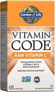 Garden of Life Vitamin C - Vitamin Code Raw Vitamin C - 120 Vegan Capsules, 500mg Whole Food Vitamin C with Bioflavonoids,...