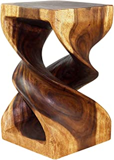 Haussmann Wood Double Twist Stool Table 12 in SQ x 20 in H Walnut Oil