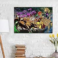 KDSMFAストリートアートグラフィティブルファイトガールクリートルールウォールアートキャンバス絵画ポスターとプリントリビングルームの装飾のためのモダンな写真/ 50x70cm(フレームなし)
