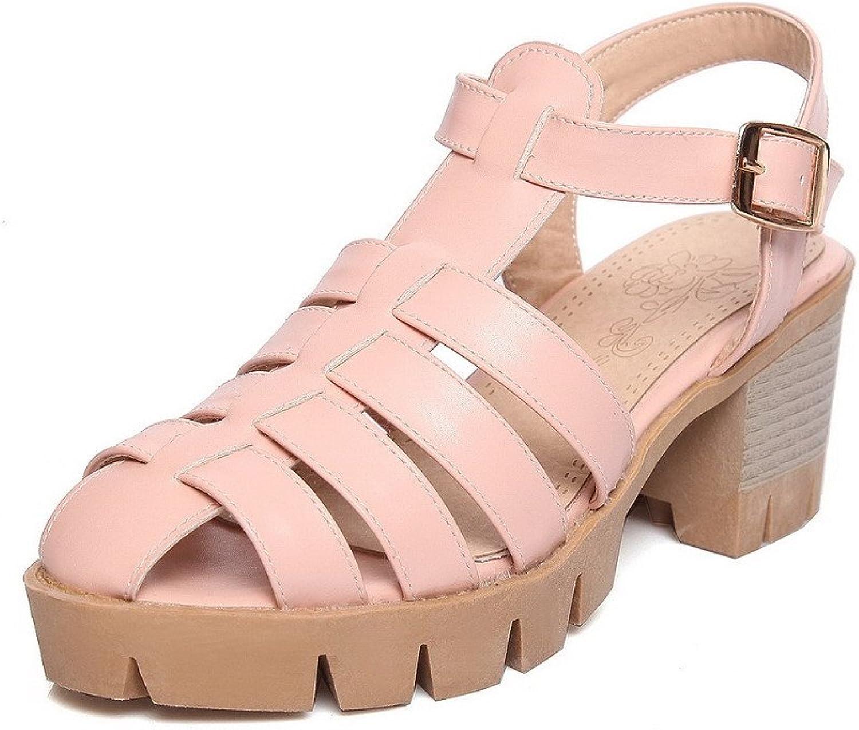 WeenFashion Women's Kitten Heels Solid Buckle Open Toe Platforms-Sandals