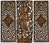 """Sawaddee Thai Greeting Figure and Floral Wood Carving Wall Decor Panels. Asian Home Decor Wall Art in Dark Brown Finish 35.5""""x13.5' Each, Set of 3 Pcs (Figure A)"""