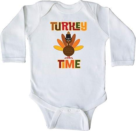 inktastic Thanksgiving Turkey Hand Drawing Long Sleeve Creeper